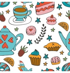 Colorful desserts seamless pattern vector image