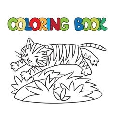 Coloring book of funny wild tiger vector image