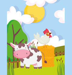 cow and rooster on hay trees vegetation fence farm vector image