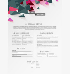 creative simple cv template with triangle shapes vector image