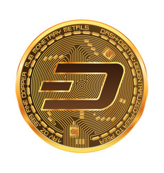 crypto currency dash golden symbol vector image