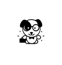 cute dog businessman baby vector image