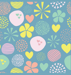 cute doodle pattern with flowers dots hearts in vector image