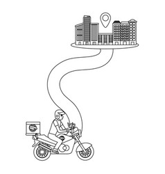 delivery motorcycle on a way to city vector image
