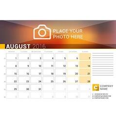 Desk Calendar for 2016 Year August Design Print vector