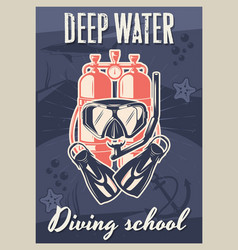diving school vintage typography poster template vector image