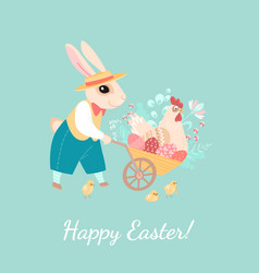easter greeting card with a rabbit vector image