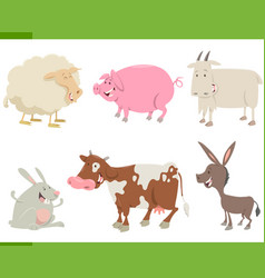 farm animal characters set vector image