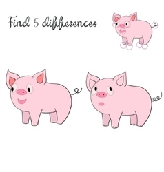 Find differences kids layout for game pig vector