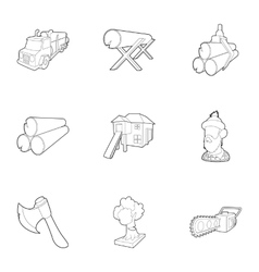 Firewood icons set outline style vector