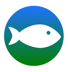 fish sign white icon in vector image