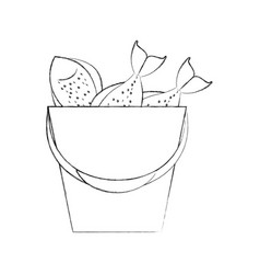 Fishing bucket with fishs vector