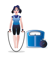 fitness woman jump rope weight scale and stopwatch vector image