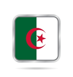 Flag of Algeria shiny metallic gray square button vector