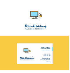 flat computer logo and visiting card template vector image
