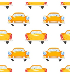 Flat style seamless pattern of retro yellow car vector