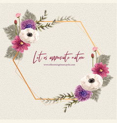 Floral wine wreath design with anemone vector