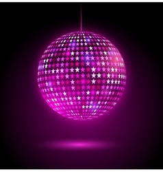 Glowing disco ball with stars vector image