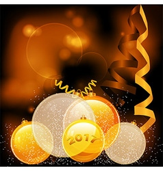 Golden Christmas baubles 2017 background vector