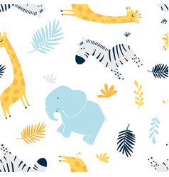 Hand drawing family animals pattern vector