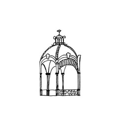hand-drawn pavilion with roof vector image
