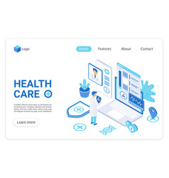 health care landing page template vector image