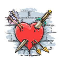 Heart pierced dagger and arrows colorful tattoo vector
