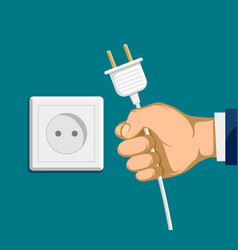 human hand with electric plug and outlet vector image