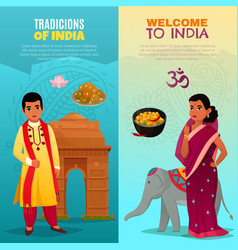 India vertical banners set vector
