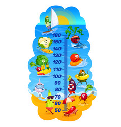 kids height chart vegetables on vacations cartoon vector image