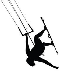 Kitesurfing man jump silhouette vector