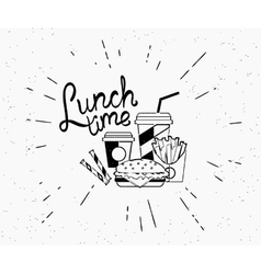 Lunch time vintage label of burger with coffee and vector