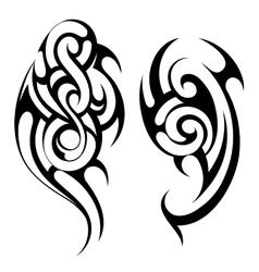 Maori style tattoo shapes set vector