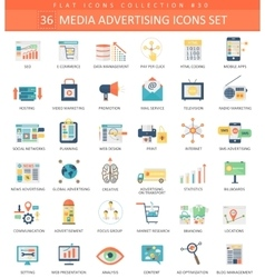 Media advertising color flat icon set vector image