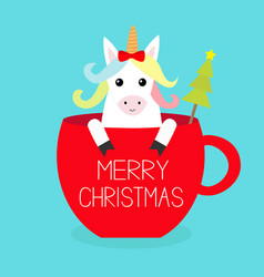 Merry christmas unicorn horse sitting in red vector