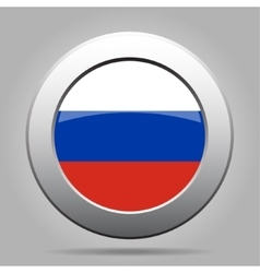 metal button with flag of Russia vector image