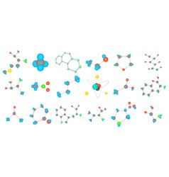 molecule icon set cartoon style vector image