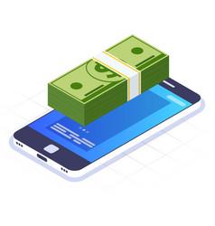money transaction via mobile phone money stack on vector image