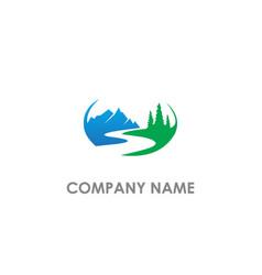 mountain hill nature landscape logo vector image