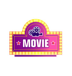 movie camera and stars logo filmmaking industry vector image