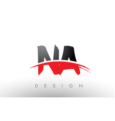na n a brush logo letters with red and black vector image