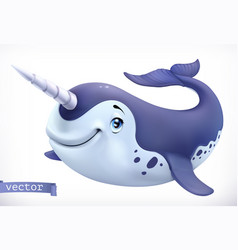 narwhal cartoon character funny animal 3d icon vector image
