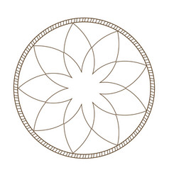 Outline flower frame natural decoration delicate vector
