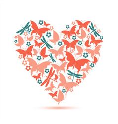 pink heart butterflies valentine card vector image