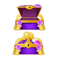Purple chest decorated with flower buds and gold vector
