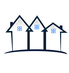 Real estate townhouse community icon logo vector
