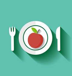 red apple on a plate vector image