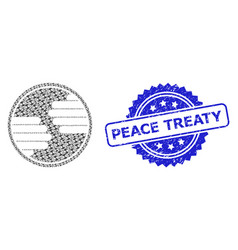 Rubber peace treaty seal stamp and fractal hands vector