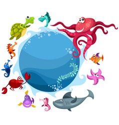 sea life card vector image