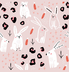 seamless pattern with cute hand drawn bunny vector image